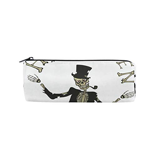 Pencil Case Pencil Bag Round Gentleman Skull Happy Halloween Pattern Makeup Bag Pouch Case Cosmetic Travel School Bag]()