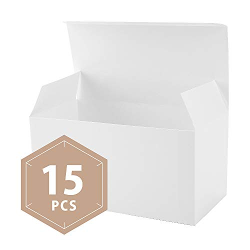 PACKHOME White Gift Boxes with Lids 15 Pcs 9x4.5x4.5 Paper Gift Box for Wedding,Gift,Party,Cupcake,Cookies,Recycled Paper White