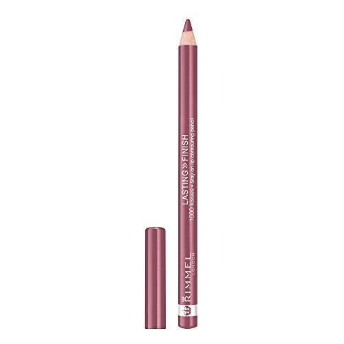 Rimmel Lasting Finish, 1000 Kisses Lip Liner, Mauve Shimmer, 0.04 oz., Long Lasting Bold Lip Liner Pencil, Resists Transferring & Smudging