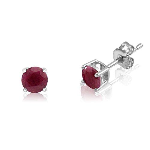 3mm Ruby Stud Earrings - Genuine 3mm Brilliant Round Cut Red Ruby Rhodium Plated Sterling Silver Basket Set Stud Earrings