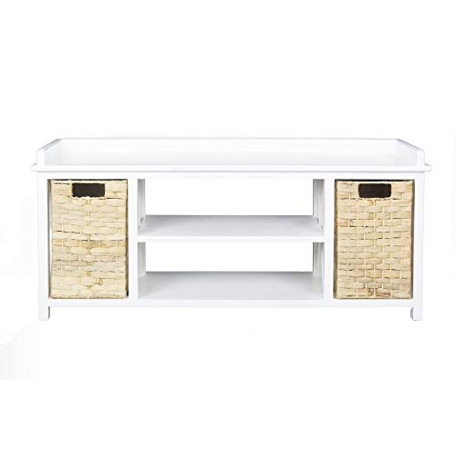 (Heather Ann Creations W22318-WHT Raleigh Modern Media Stand with Shelf and Two Storage Baskets, 42
