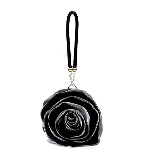 QZTG sac à main Sacs Femme Satin Sac De Soirée Fleur Gris Rose Ivoirecross Body Sacs À Bandoulière Sac À Dos Sacs À Main Noir