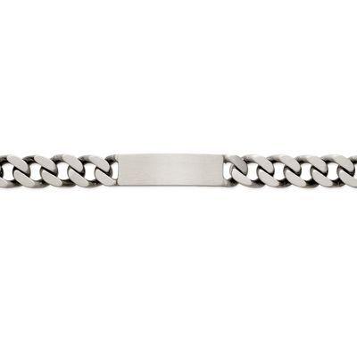 So Chic Bijoux © Bracelet Identité 22 cm Maille Gourmette 12 mm Argent 925 Vieilli - Personnalisable : Gravure offerte