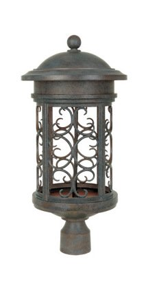 Mediterranean Patina 1 Light 11in. Post Lantern from the Dark Sky Barrington Collection by Designers Fountain