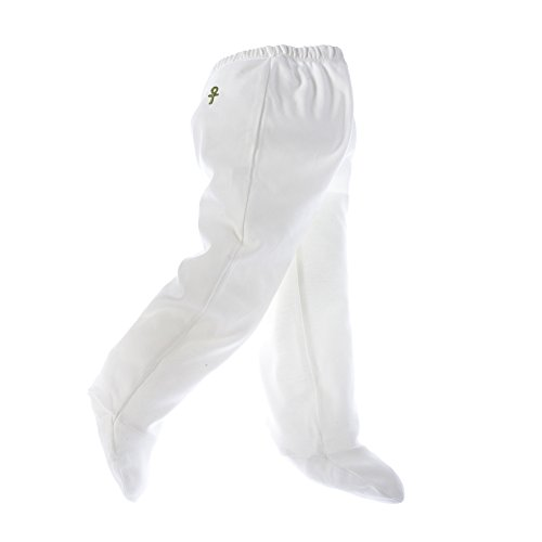 little-pharo-100-extra-long-staple-egyptian-cotton-footed-leggings-ivory-with-green-logo-size-3-6-mo