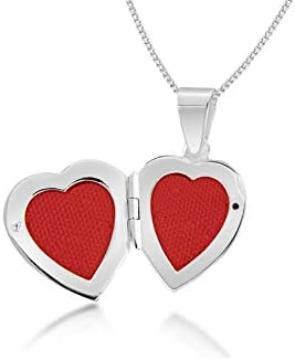 "Tuscany Silver Sterling Silver Cubic Zirconia Heart Locket on Adjustable Curb Chain Necklace of 41cm/16""-46cm/18"""