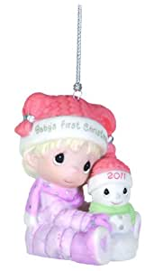 "Precious Moments , 2011 Dated Ornament ""Baby's First Christmas"" Girl"