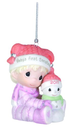 Precious Moments , 2011 Dated Ornament Baby's First Christmas Girl (First Ornament Moments Babys Precious)