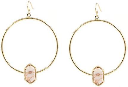 EHSHIKEUC Nuevos pendientes de cuarzo ovalado de imitación de círculo de joyería de moda lindos pendientes ovalados multicolores para mujeres