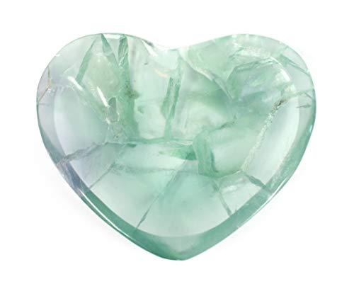 hBARSCI Beautiful Green Fluorite Heart Shaped Dish, 3.75