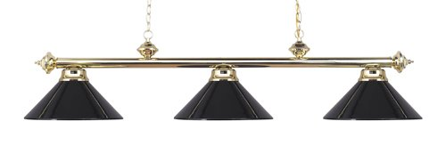 Elk 167-Pb-Bk Casual Traditions 3-Light Billiard Light, 13-Inch, Polished Brass With Black Metal Shades