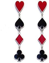 Personality Asymmetric Acrylic Poker Card Black Red Heart Long Drop Earrings for Women Girls Party Gifts