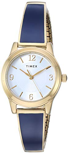 Timex Women's TW2R98500 Stretch Bangle 25mm Blue/Gold-Tone Stainless Steel Expansion Band - Expansion Blue Dial Band