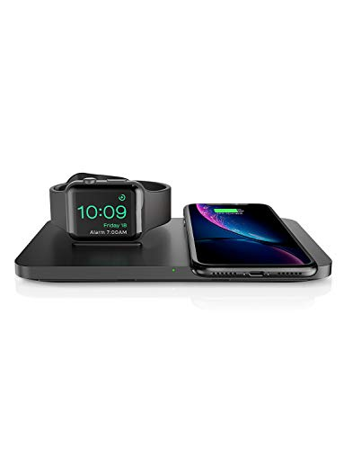 Seneo Dual 2 in 1 Wireless Charger pad with iWatch Charging Stand, Nightstand Mode for iWatch Series 4/3/2, 7.5W Fast Charging for iPhone XR/XS Max/Xs/X/8/8P and New AirPods(No iWatch Cable) (Black)