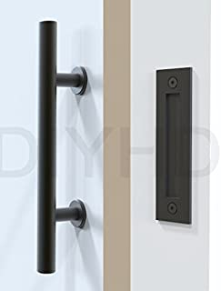 DIYHD Stainless Steel Smooth Black Barn Door Handle And Pull Wood Door Two-side handles & Amazon.com: Stainless Steel Black Barn Door Handle 12u201d And Pull ... pezcame.com