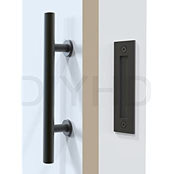 DIYHD Stainless Steel Smooth Black Barn Door Handle And Pull Wood Door Two-side handles