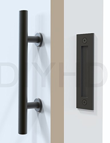 DIYHD Stainless Steel Smooth Black Barn Door Handle And Pull Wood ...