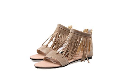 zapatos de de redonda nueva verano borla con Beige mujer casuales y sandalias cabeza Hebilla planas ZHZNVX primavera AZxP7wx