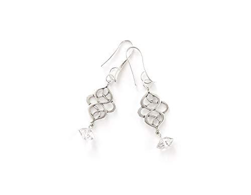 Herkimer Diamond Earrings with Lucky Knot Connectors - Handmade Crystal Earrings