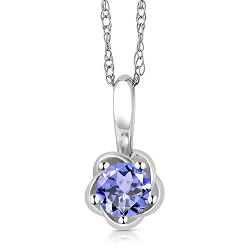Gem Stone King 10K White Gold 0.18 Ct Round Blue Tanzanite Flower Pendant With 18 Inch ()