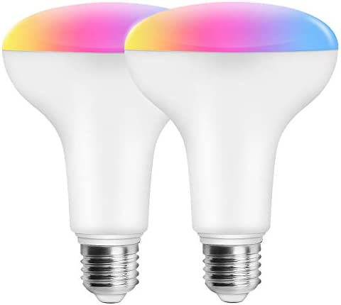 Magic Hue 11W 100w Equivalent WiFi Smart BR30 Flood Light Bulb, Dimmable RGBCW Multicolor Wide Flood Light for Recessed Can Use, Compatible with Alexa Google Home and Siri 2Pack