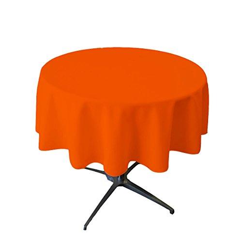 LA Linen Tablcloth Polyester Poplin Tablecloth 58-Inch Round, Orange (Plastic Round Orange Tablecloth)