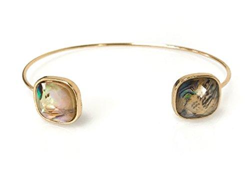 Abalone Cuff Bracelet - Square Abalone Open End Wrist Cuff Bracelet Bangle - Gold