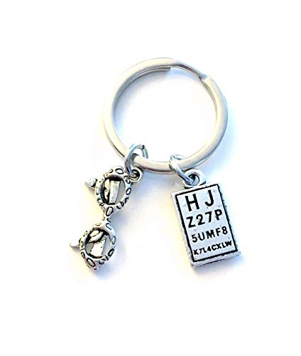 SALE - Ophthalmologist Key Chain, Optometrist Keychain, Gift for Optometry Student, Eye Doctor Assistant Keyring, Retirement Present, Eye glasses chart snellen glass charm, Vision Care