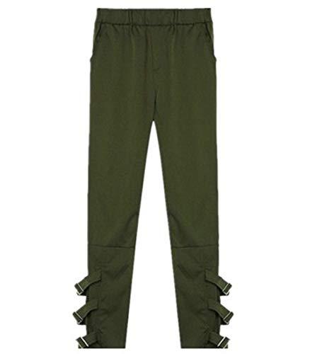 Zhrui Pantaloni Harem Donna Casual Donna Larghi Verde Verde