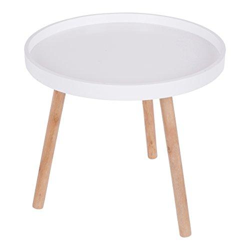 Kleiner Beistelltisch mit weißer Platte und Naturfarbenen Holzbeinen