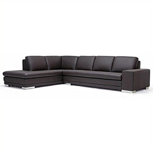 Wholesale Interiors 766-sofa/lying-M9805-Reverse Callidora Series Dark Brown Leather-Leather Match Sectional Sofa Chaise on