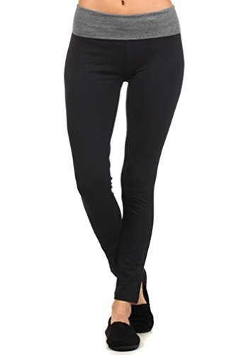 MOPAS Yoga Pants with Fold Over Solid Waistband Grey Size S