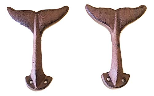 2 pc Whale Tail Wall Hook Cast Iron w/Hardware -
