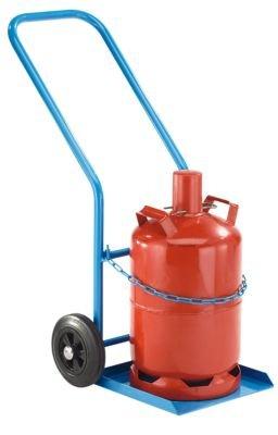 EUROKRAFT Stahl- / Gasflaschenkarre - für 1 Propangasflasche, Inhalt 27 / 40 l Vollgummireifen - Stahlflaschenkarre Stahlflaschenkarren Stahlflaschenwagen Stahlflaschenwägen Transportkarre Gasflaschenkarre Karre
