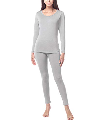 LAPASA Women's Heavyweight Thermal Underwear Long John Set Fleece Lined Base Layer Top & Bottom L17 (Medium, Heavyweight Grey)