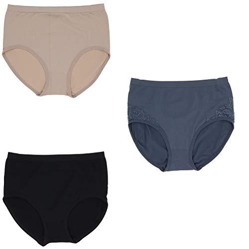Delta Burke Intimates Women's Plus Size Lacey Trim Hi-Rise Brief Panties (3Pr) (10/XXX-Large, Black, Beige, Dusty ()