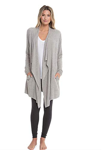Barefoot Dreams CozyChic Lite Island Wrap, Heathered Pewter/Silver ()