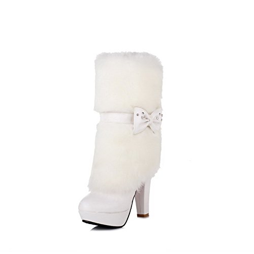 Round Blend Women's Boots AmoonyFashion High Materials Solid Toe Closed White Heels on Pull qgHEw8
