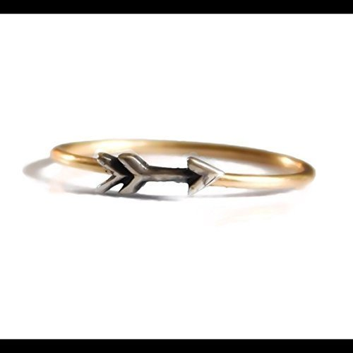 Two Tones Mixed Metals Arrow Ring 925 Sterling Silver 14k Gold Filled Stacking Ring Sizes 2 3 4 5 6 7 8 9 10 11 12 13