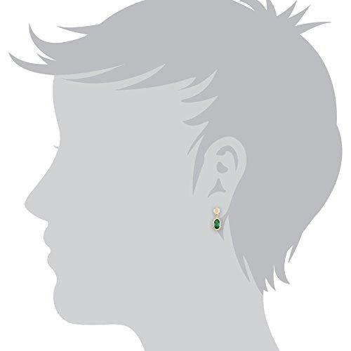 Gemondo Bague Émeraude Boucles d'oreilles, or jaune 9ct émeraude 0.51ct-Boucles d'Oreilles Pendantes Femme -