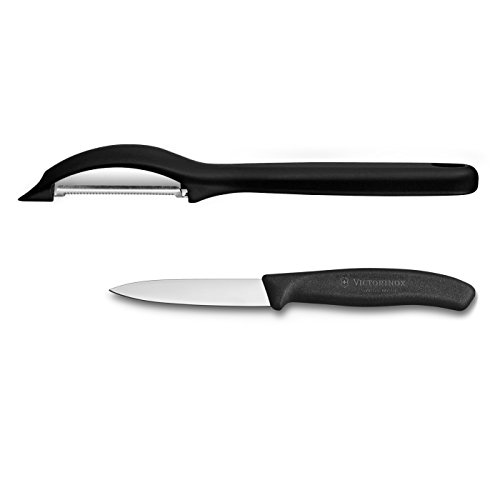 Victorinox Swiss 2 Piece Stainless Steel Paring Knife and Peeler Set with Black Fibrox ()