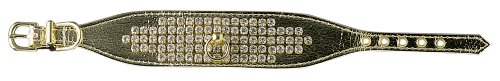 Pet Supply Imports gold Swank 1-1 2-Inch Vinyl Collar with 5 Rows of Rhinestones, Dog Collar, 14-Inch