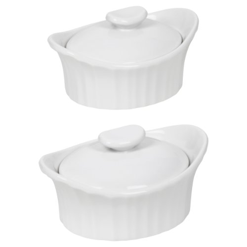 Corningware French White III Dessert Baker with Ceramic Lid, 2-Pack