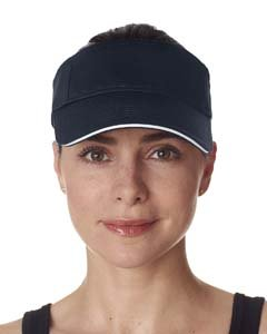 Ultraclub Classic Cut Brushed Cotton Twill Sandwich Visor 8113 -Navy/ White One