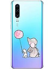 Oihxse Animal Serie Case Compatible con Huawei Honor 9i Funda Transparente Suave Silicona Elefante Conejo Patrón Protector Carcasa Ultra-Delgado Creativa Anti-Choque Cover (A8)