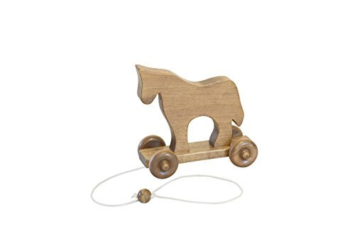 Amish-Made-Handcrafted-Wooden-Pull-Toy-Horse-Harvest-Finish