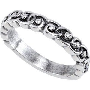 Jambs Jewelry Sterling Silver Stackable Scroll Design Ring