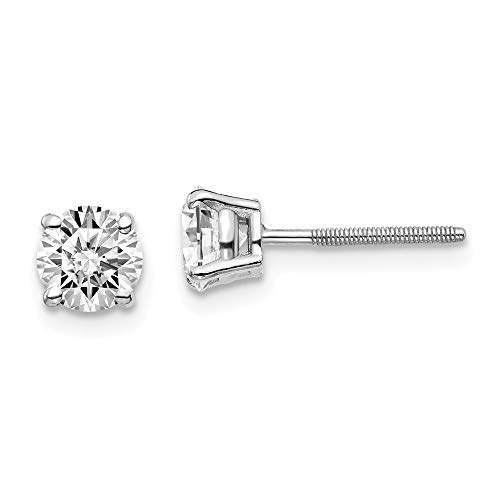 (1 Carat Solitaire Lab Grown Diamond Stud Earrings Round Cut 4 Prong Screw Back 14k White Gold (D-E Color, VS Clarity))