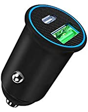 USB C Car Charger, ZHAM Super Mini All Metal 60W(max) Fast Car Charger, PD 60W + QC4.0 30W Dual Port Car Adapter Compatible with iPhone 13 Pro Max/13 Pro/13/13 Mini / iPhone12 Pro Max/12 Pro/12/12 Mini/11 Pro Max/X/XR/XS/8 Plus/SE, Samsung S20/Note 20 Ultra/Note 10/S10/S9, Macbook, Laptop, iPad Pro/Air, Google Pixel, LG, HTC and More