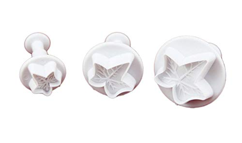 - Set of 3pcs Veined Ivy Leaf Plunger Cutter cake decorating fondant plunger embossing tool
